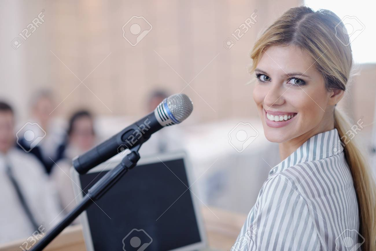 business people group at meeting seminar presentation in brigt conference room Stock Photo - 13487797