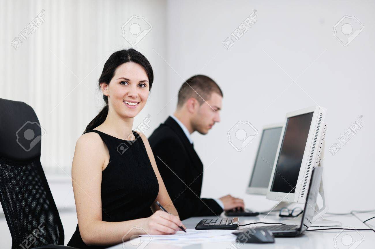 business people group with  headphones giving support in  help desk office to customers, manager giving training and education instructions Stock Photo - 13752969