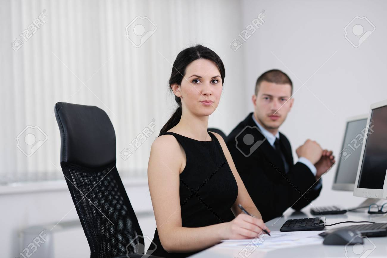 business people group with  headphones giving support in  help desk office to customers, manager giving training and education instructions Stock Photo - 13775278