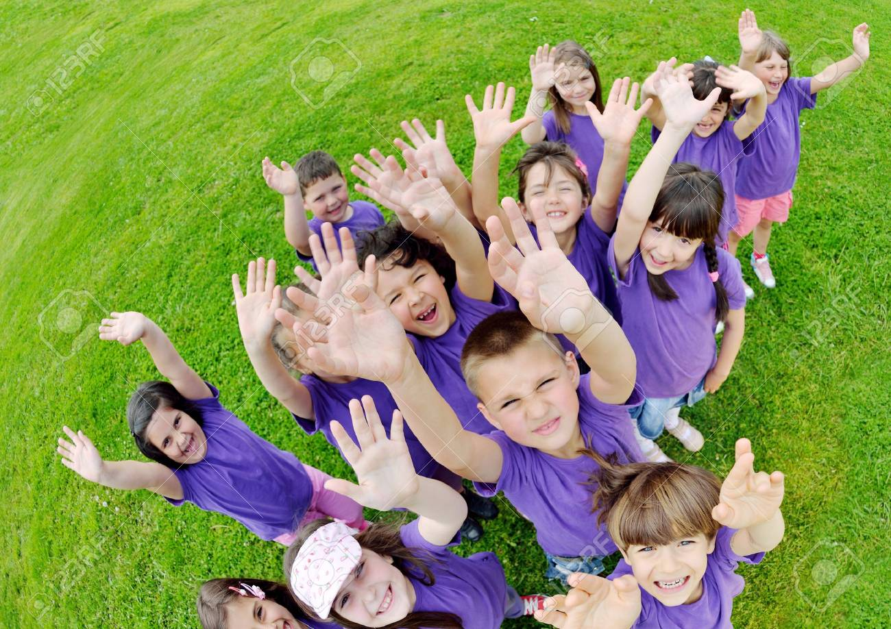 happy kids group have fun in nature outdoors park - 14593434