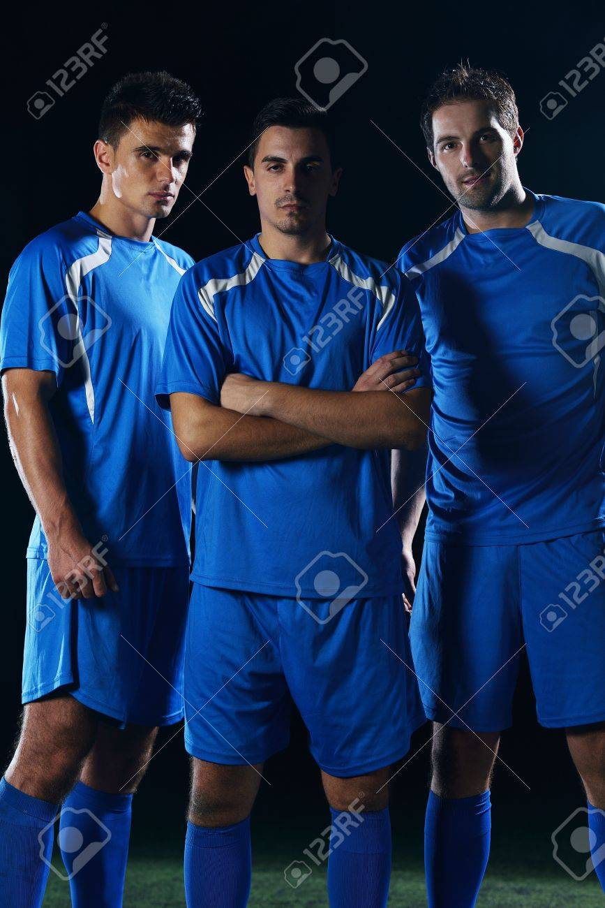 soccer players team group isolated on black background Stock Photo - 16522978