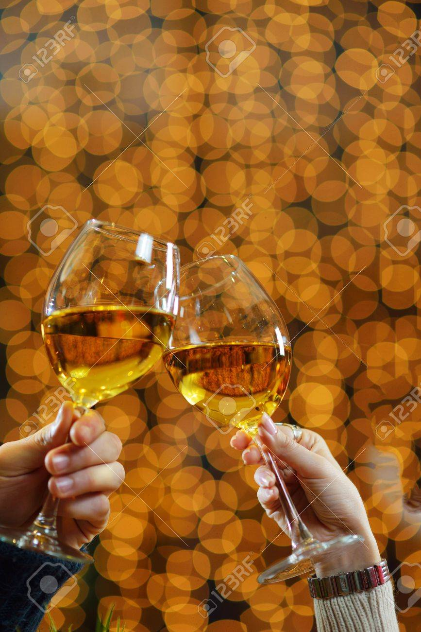 romantic evening date in hotel room, or supper in restaurant, happy couple with wine glass Stock Photo - 17057064