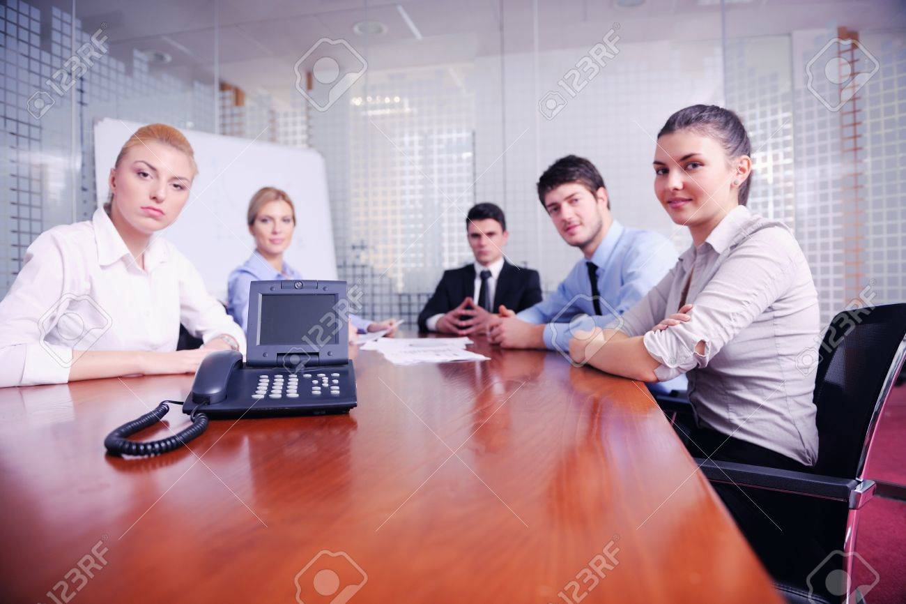 Business People Group Have Video Meeting Conference At Office ...