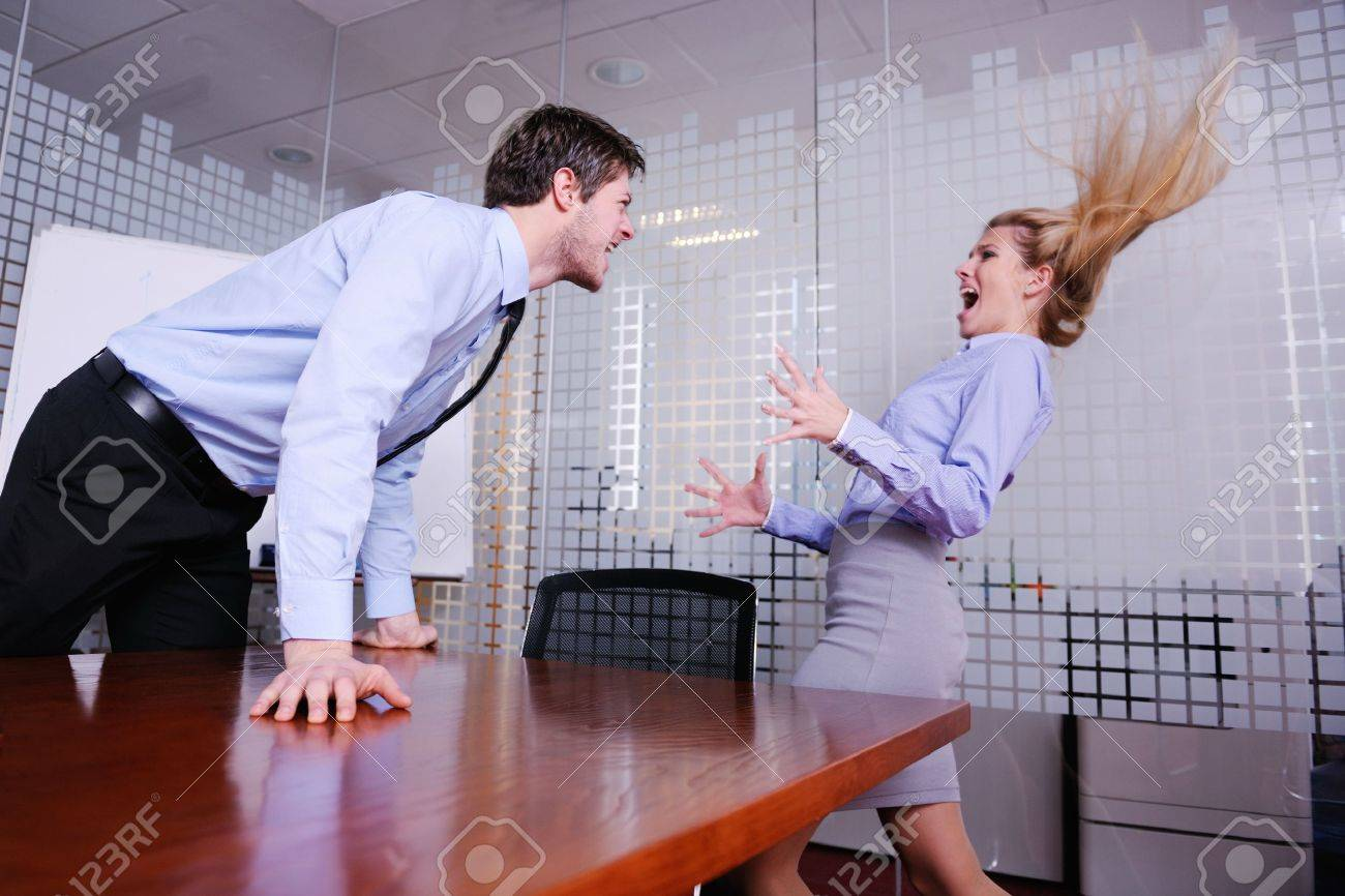 Angry business man screaming at employee in the office Stock Photo - 18186999