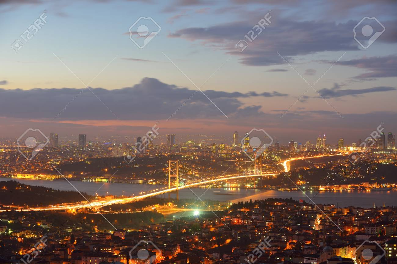 Istanbul Turkey Bosporus Bridge on sunset Stock Photo - 18673140