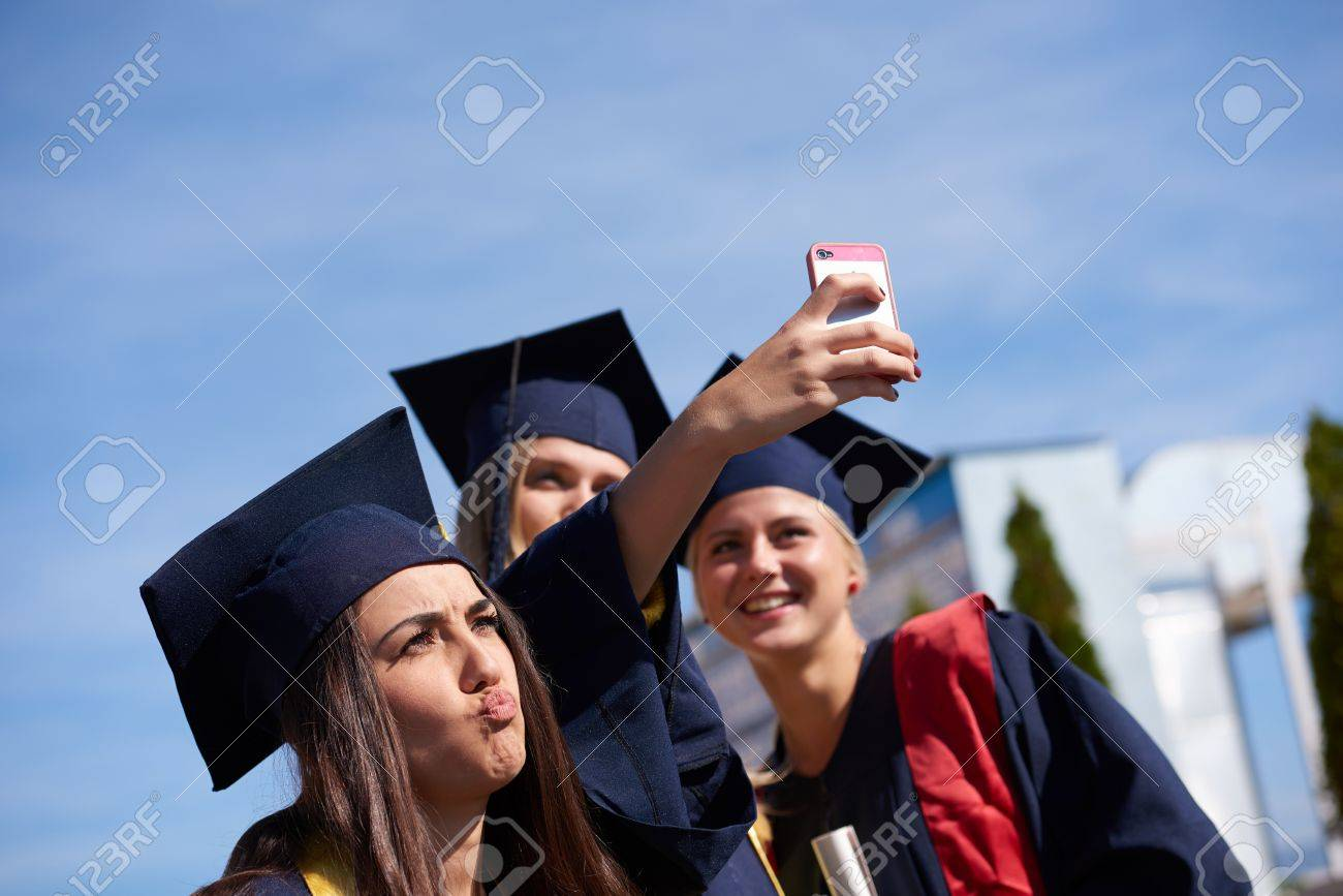 Capturing A Happy Moment.Students Group College Graduates In.. Stock ...