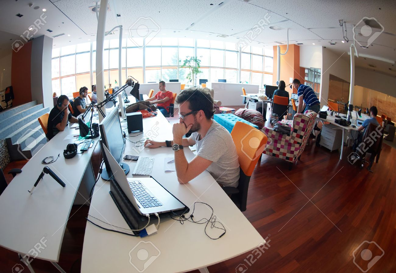 startup business people group working everyday job  at modern office Stock Photo - 49117318