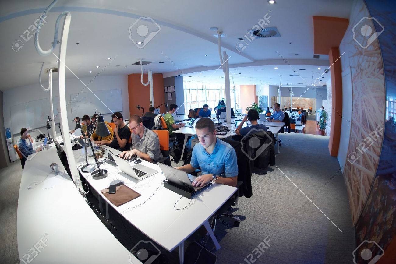 Startup Business People Group Working Everyday Job At Modern ...
