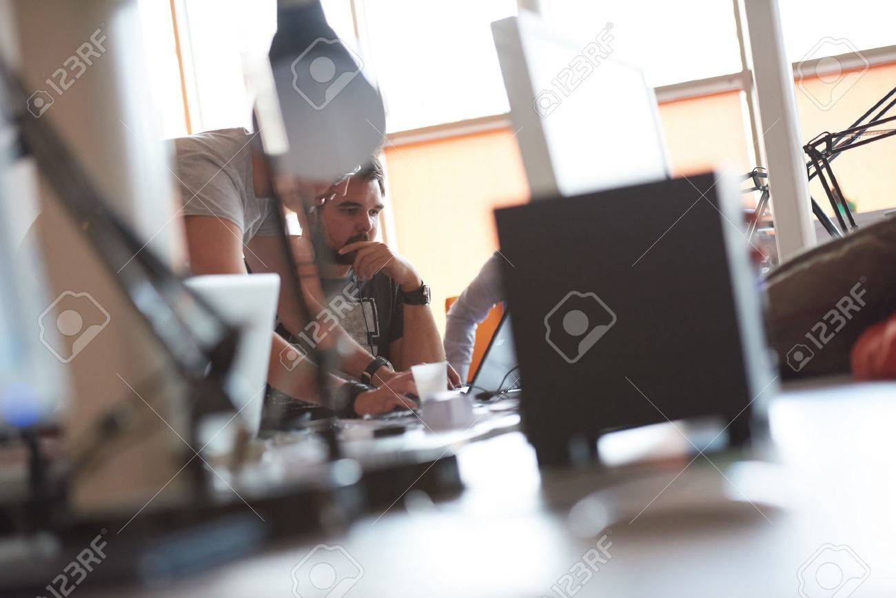 startup business people group working everyday job  at modern office Stock Photo - 49280440