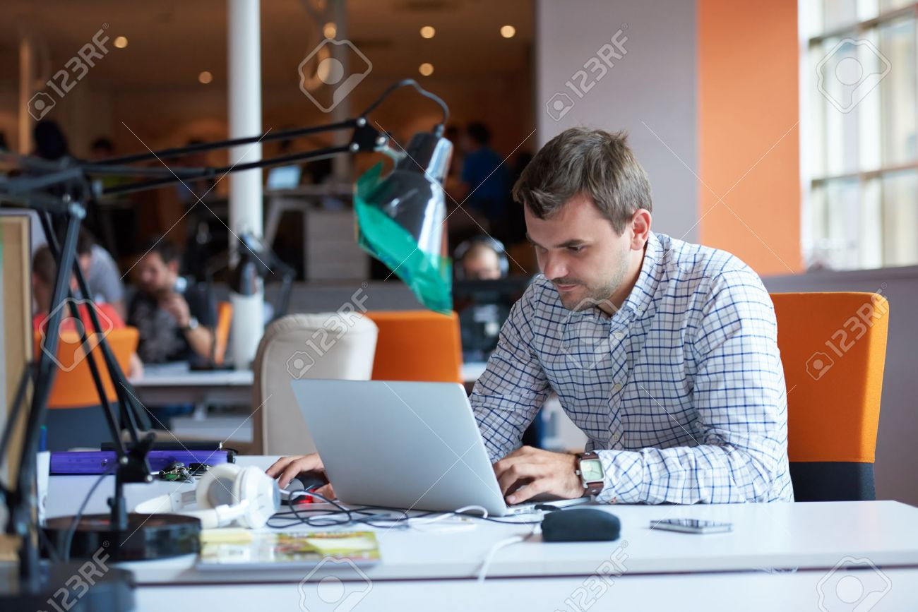 startup business, software developer working on computer at modern office Stock Photo - 49294121