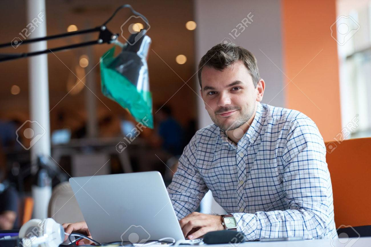 startup business, software developer working on computer at modern office Stock Photo - 49294212