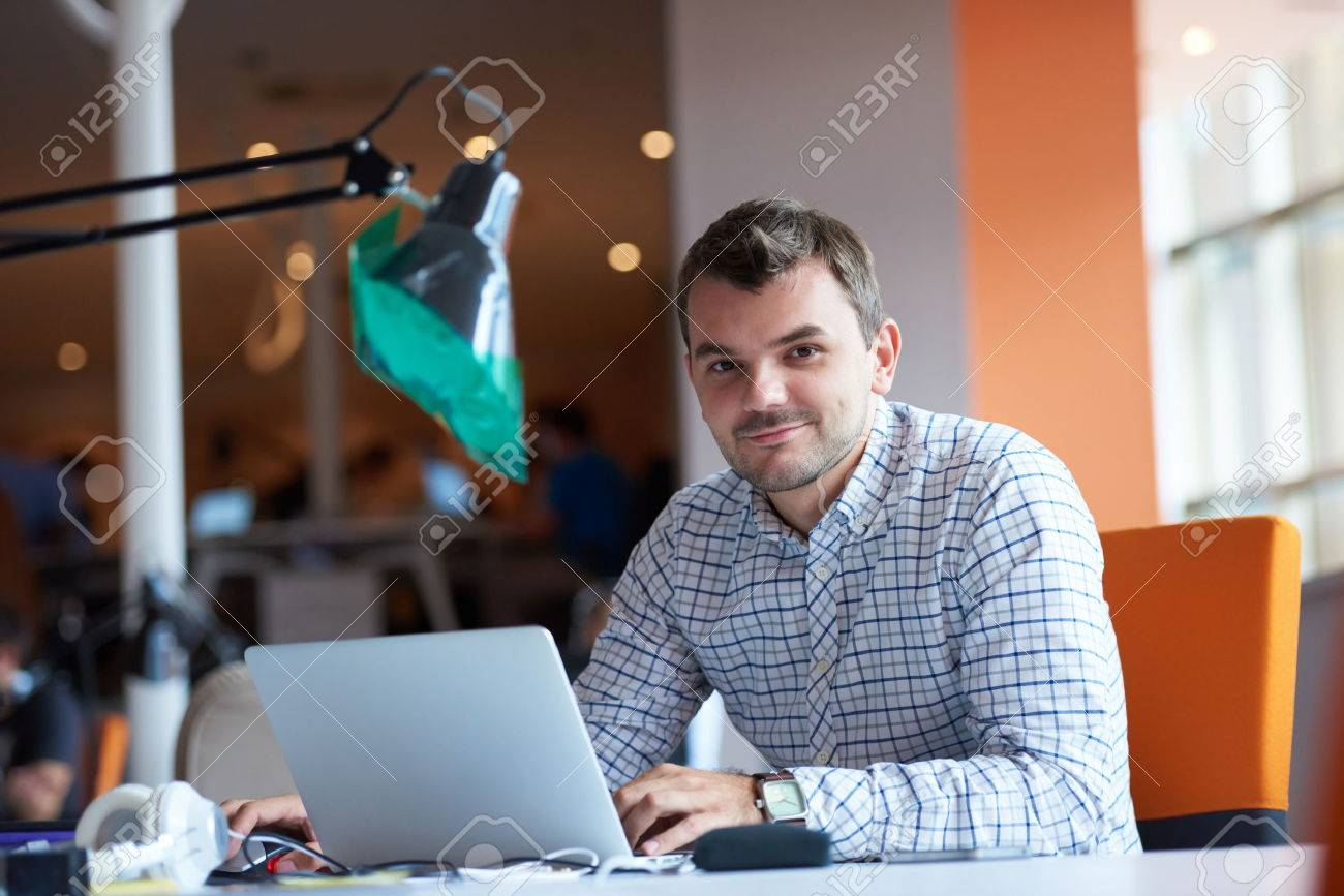 startup business, software developer working on computer at modern office Stock Photo - 49294233