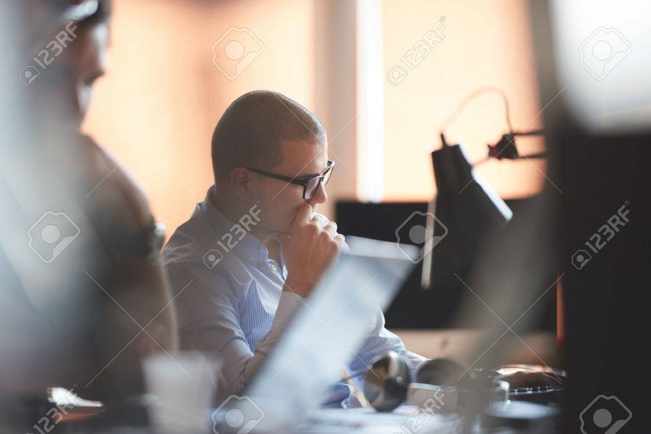 startup business, software developer working on computer at modern office Stock Photo - 49295893