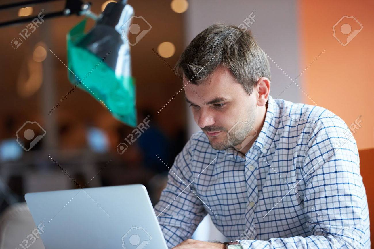 startup business, software developer working on computer at modern office Stock Photo - 49296008