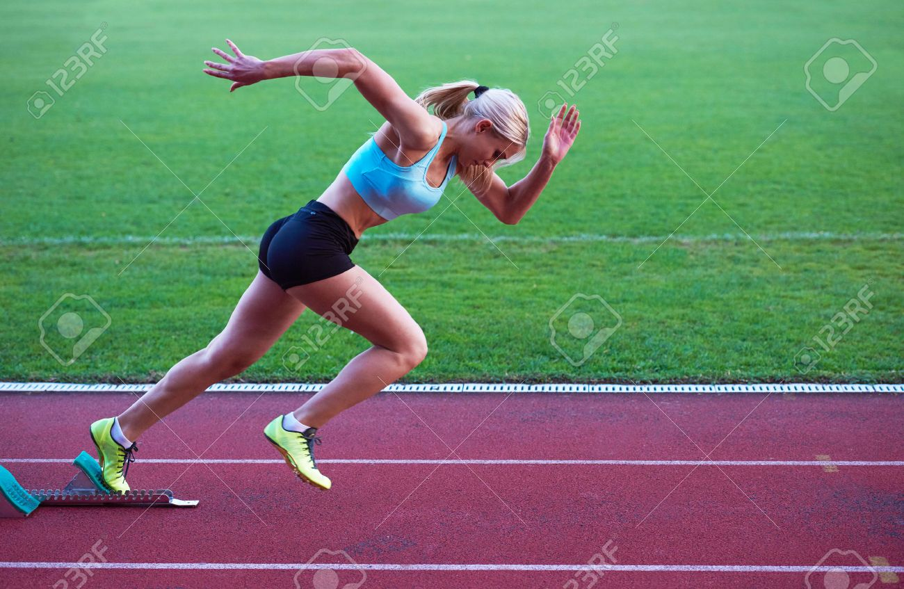 Pixelated Design Of Woman Sprinter Leaving Starting Blocks On The Athletic Track Side View