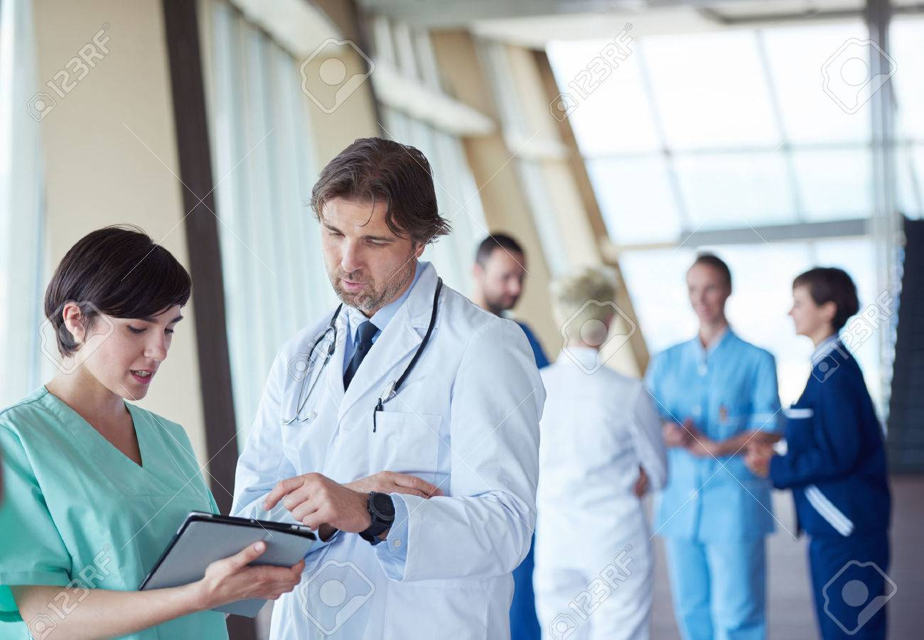 group of medical staff at hospital, doctors team standing together Stock Photo - 49137637