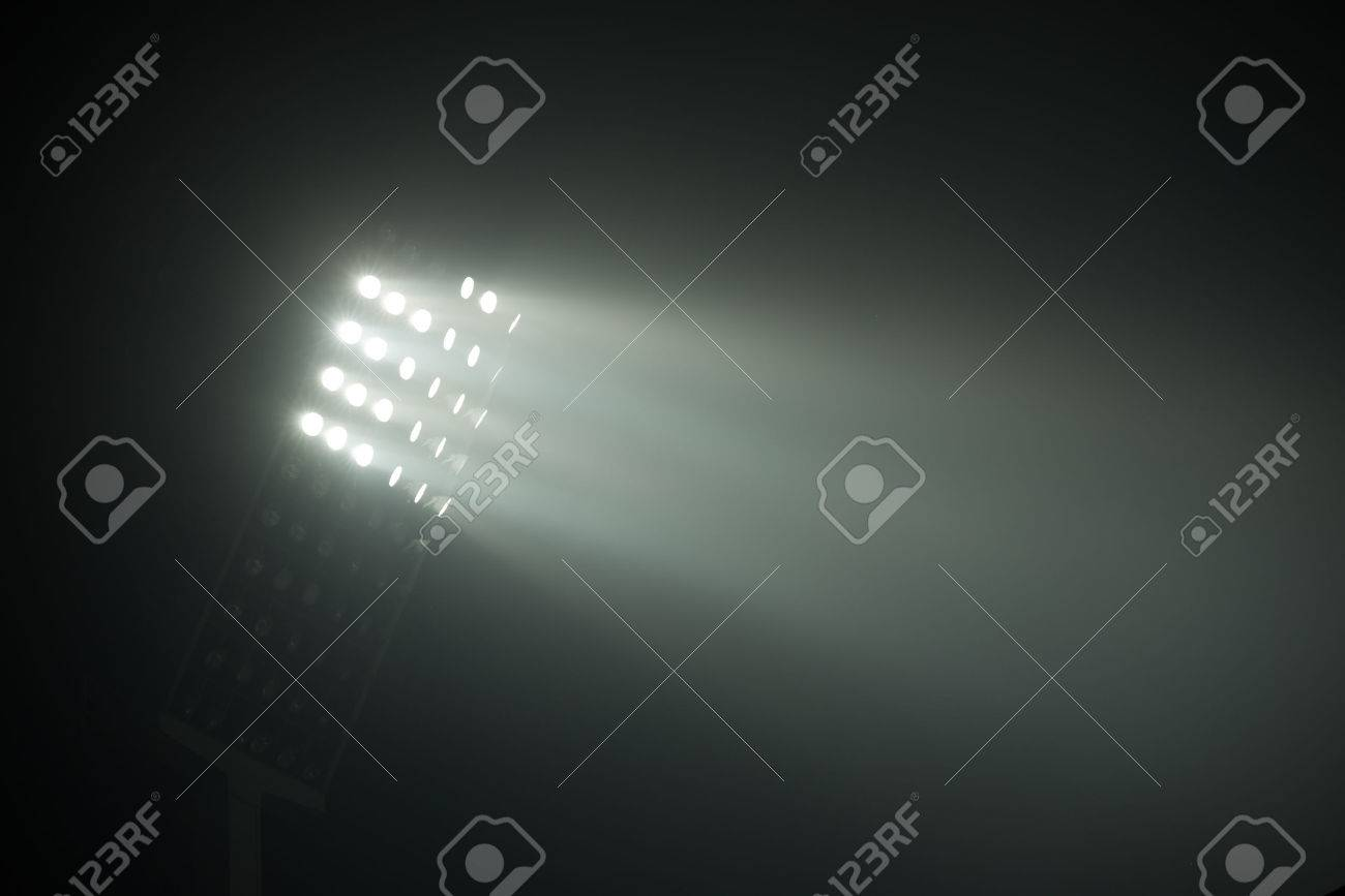 soccer stadium lights reflectors against black background Stock Photo - 48726444