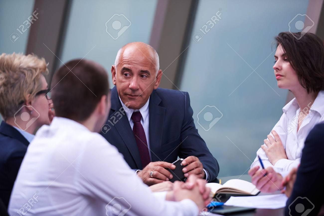 startup business people group have meeting in modern bright office interior, senoir investors  and young software  developers Stock Photo - 48956326