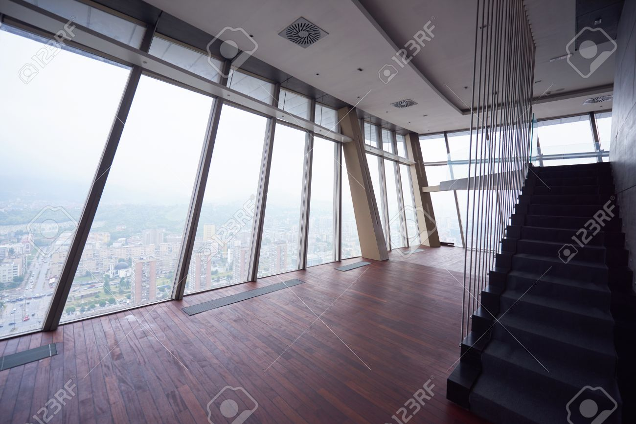 Interior office windows - Stock Photo Empty Penthouse Modern Bright Duplex Office Apartment Interior With Staircase And Big Windows