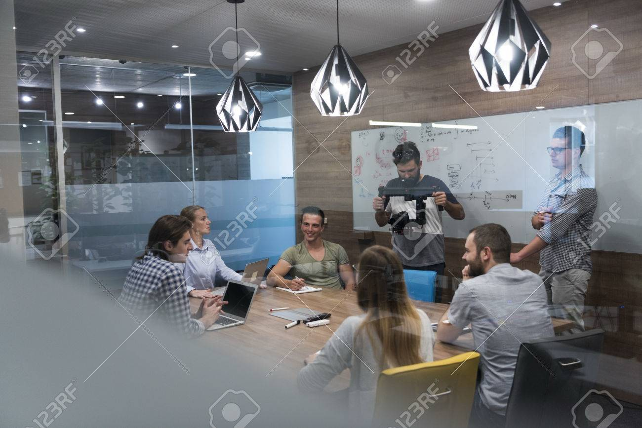 startup business team brainstorming on meeting working on laptop and tablet computer - 66166743