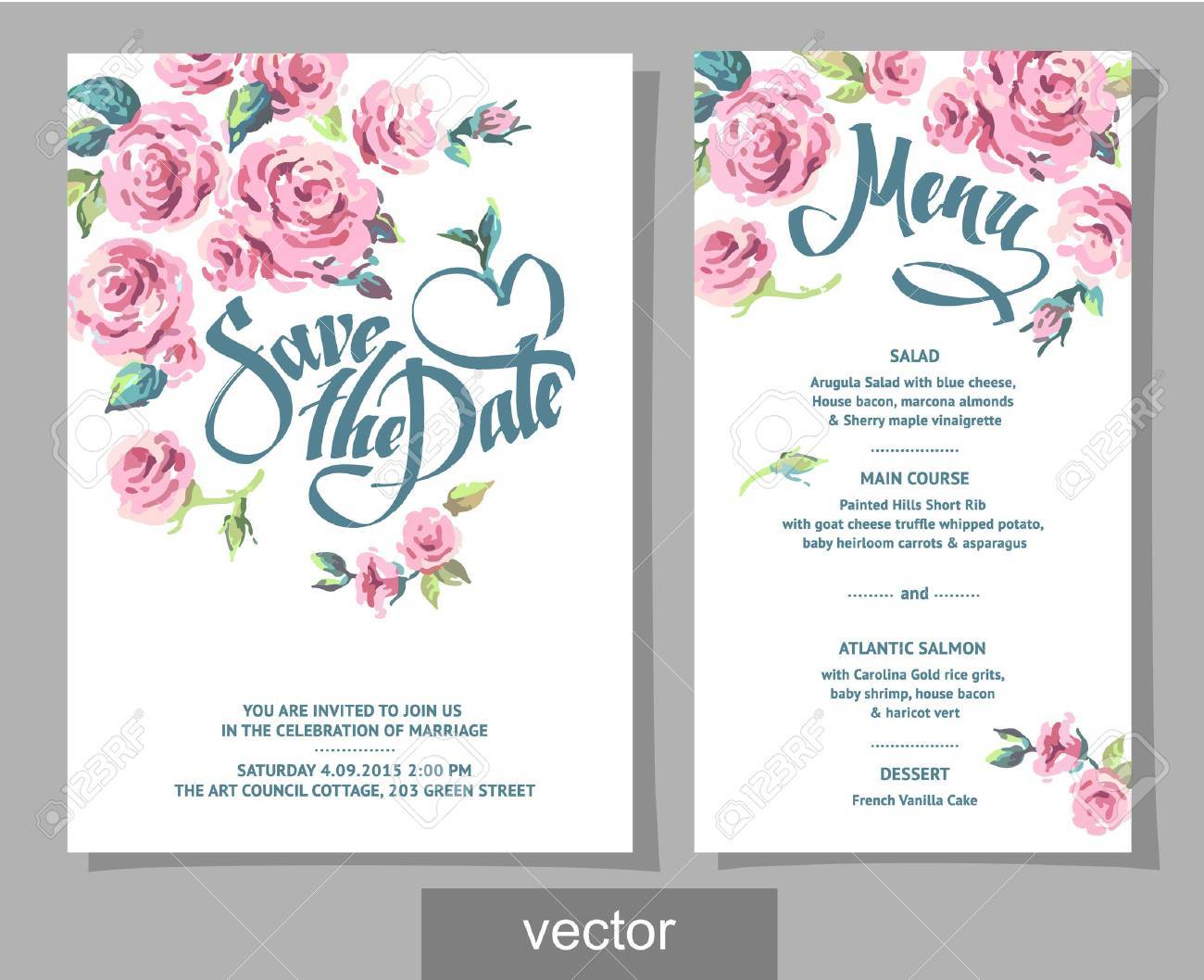 Vector Set Of Invitation Cards With Illustration Of Flowers ...