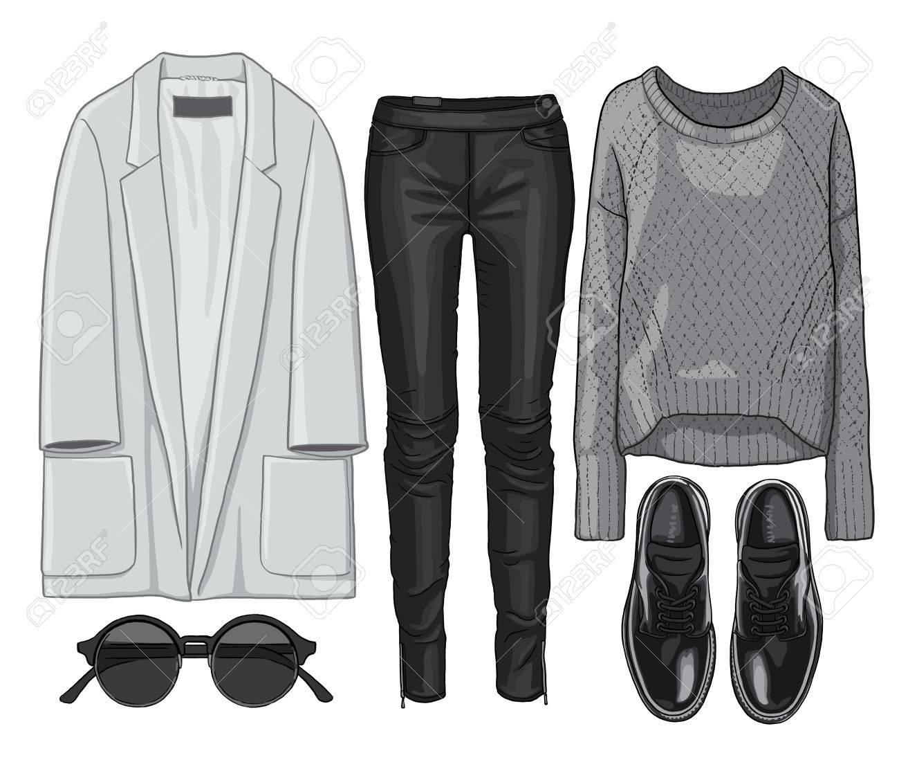 79b8950bac780 写真素材 - 女性ファッションは秋の季節の服のセットです。図スタイリッシュでトレンディな服。コート、レザーパンツ、プルオーバー、サングラス、靴。