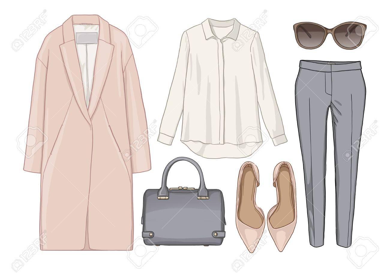 47709b0165a25 写真素材 - 女性ファッションは秋の季節の服のセットです。図スタイリッシュでトレンディな服。コート、ズボン、ブラウス、バッグ、サングラス、シャツ、靴。