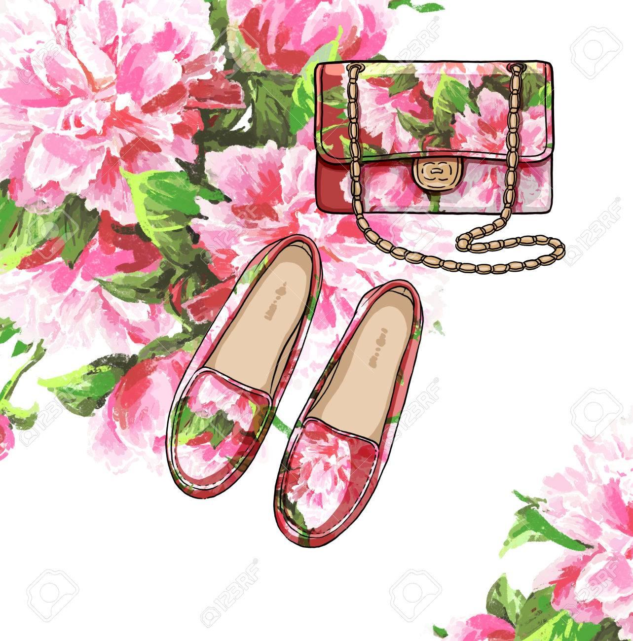 08698597e Dama de la moda conjunto de traje de la temporada de primavera. Ilustración  estilo y de moda de ropa. Bolso y zapatos withs flores de peonía ...