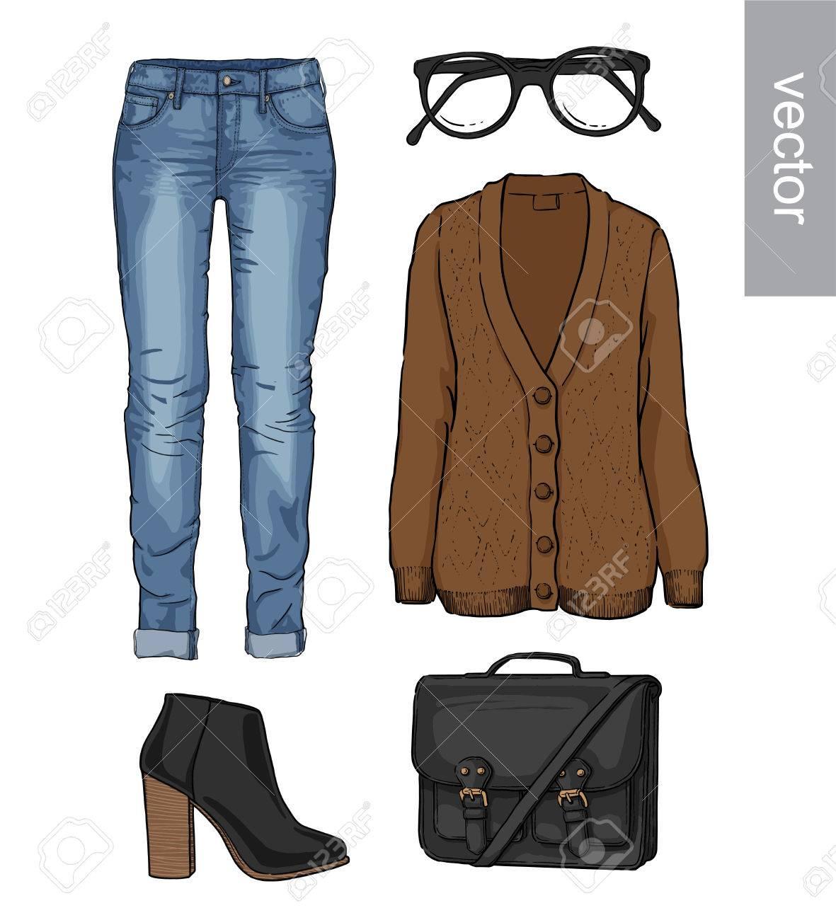 cbc2555e7 Dama de la moda conjunto de otoño, primavera, traje de la temporada de  invierno. Ilustración estilo y de moda de ropa. Cardigan, dril de algodón,  ...