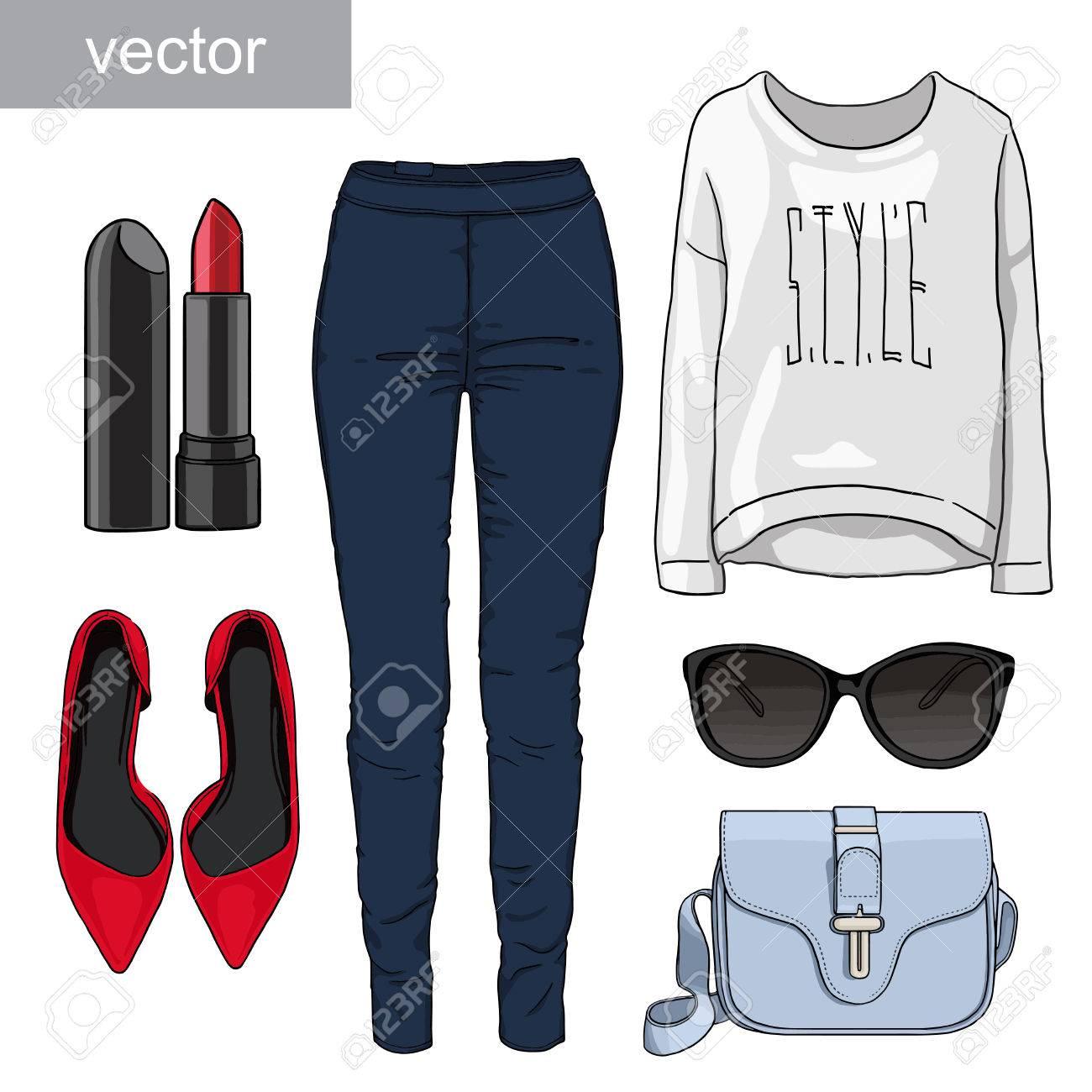 713e3cfdf Dama de la moda conjunto del otoño, traje de la temporada de primavera.  Ilustración estilo y de moda de ropa. Denim, camiseta, gafas, zapatos de ...