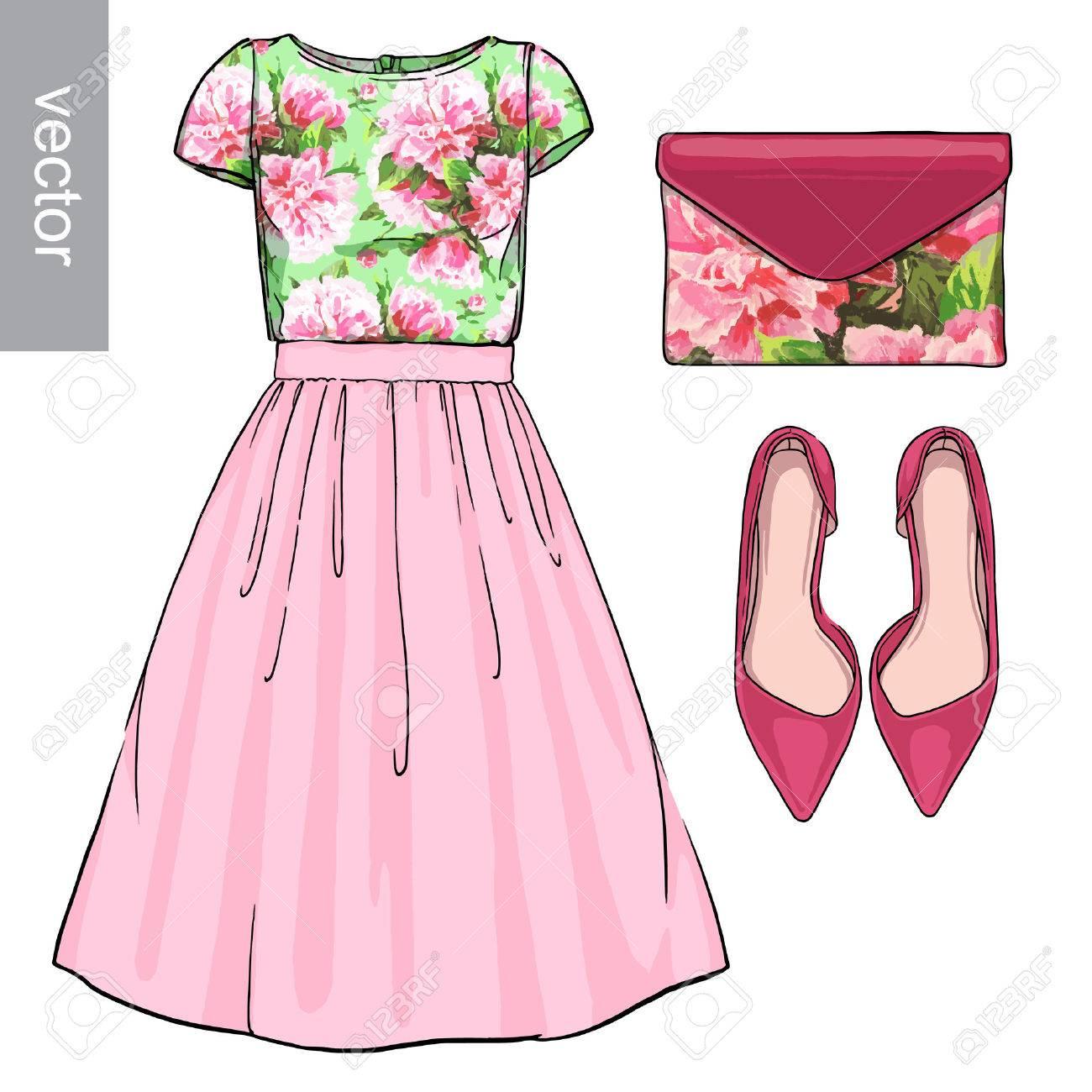 26cdf1552 Dama de la moda conjunto de la primavera, traje de la temporada de  invierno. Ilustración estilo y de moda de ropa. Vestido, bolso, accesorios,  gafas ...