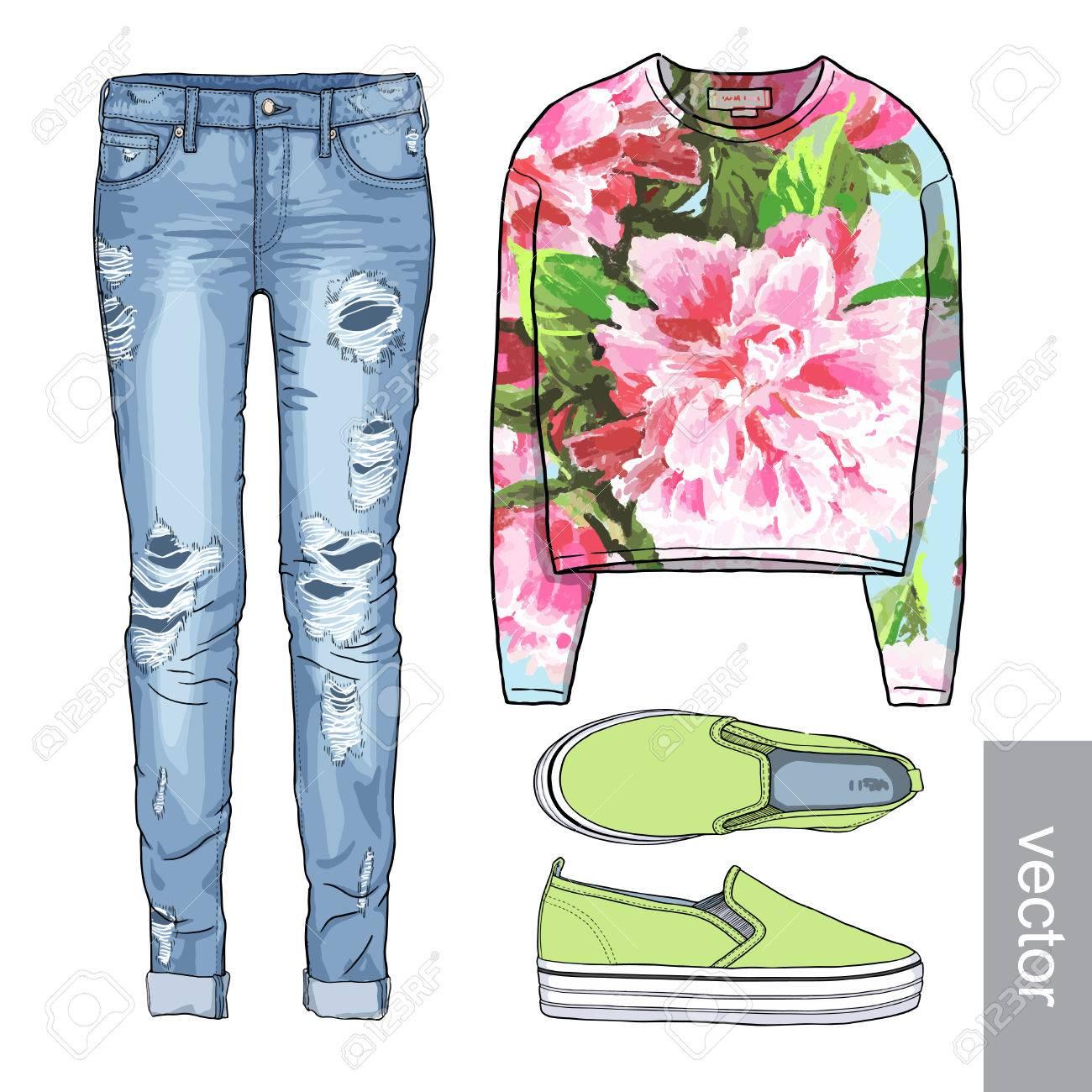 baf51306f Dama de la moda conjunto de la primavera, traje de la temporada de  invierno. Ilustración estilo y de moda de ropa. Denim, slip-on, los  pantalones ...