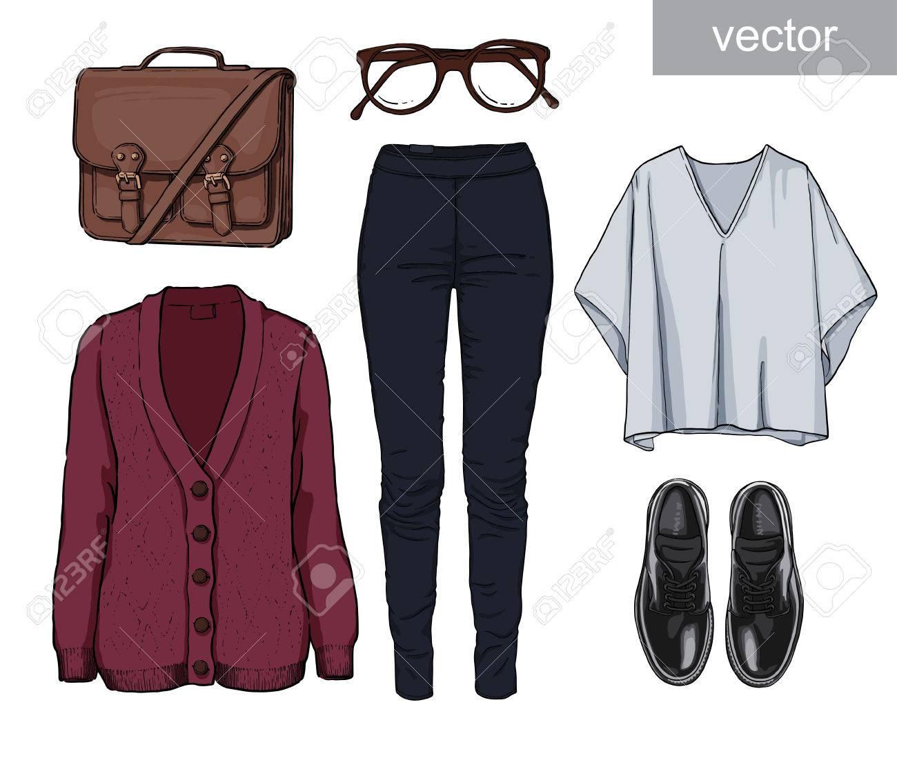 a2b61213f Dama de la moda conjunto del otoño, traje de la temporada de primavera.  Ilustración estilo y de moda de ropa. Cardigan, dril de algodón, gafas, ...