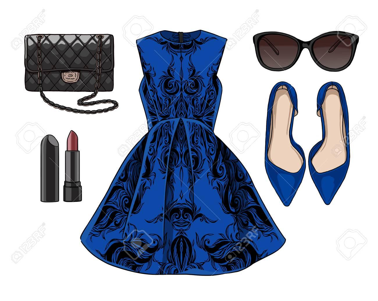 4aee240db Dama de la moda conjunto de la primavera, traje de la temporada de verano.  Ilustración estilo y de moda de ropa.