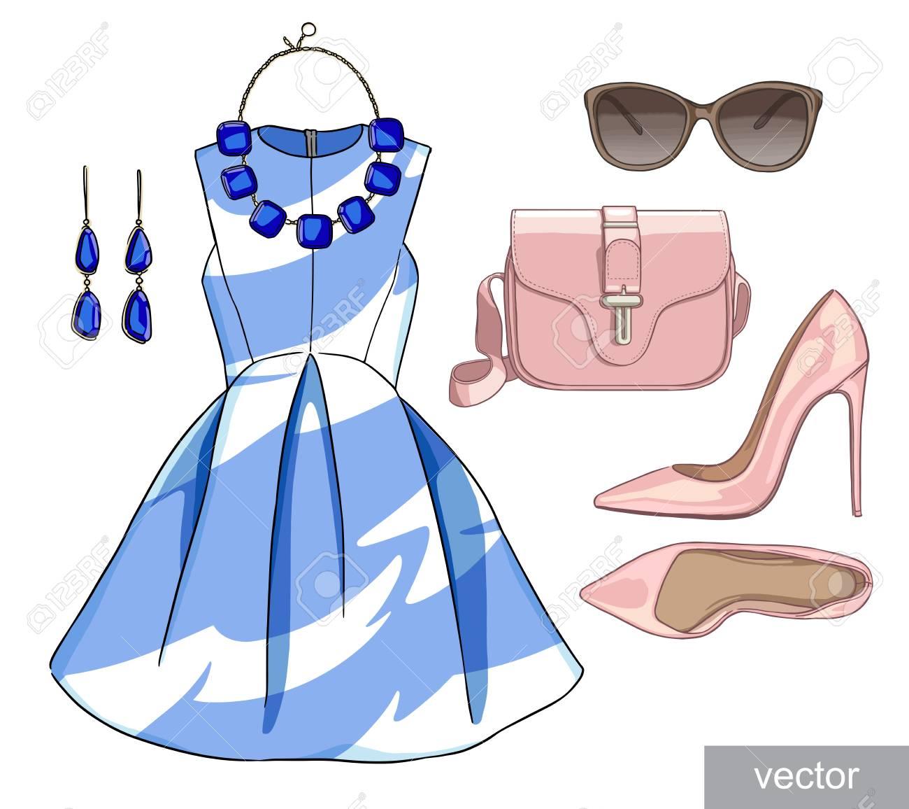 e337aeba0 Dama de la moda conjunto de traje de la temporada de primavera. Ilustración  estilo y de moda de ropa. Vestido, bolso, accesorios, gafas de sol, ...