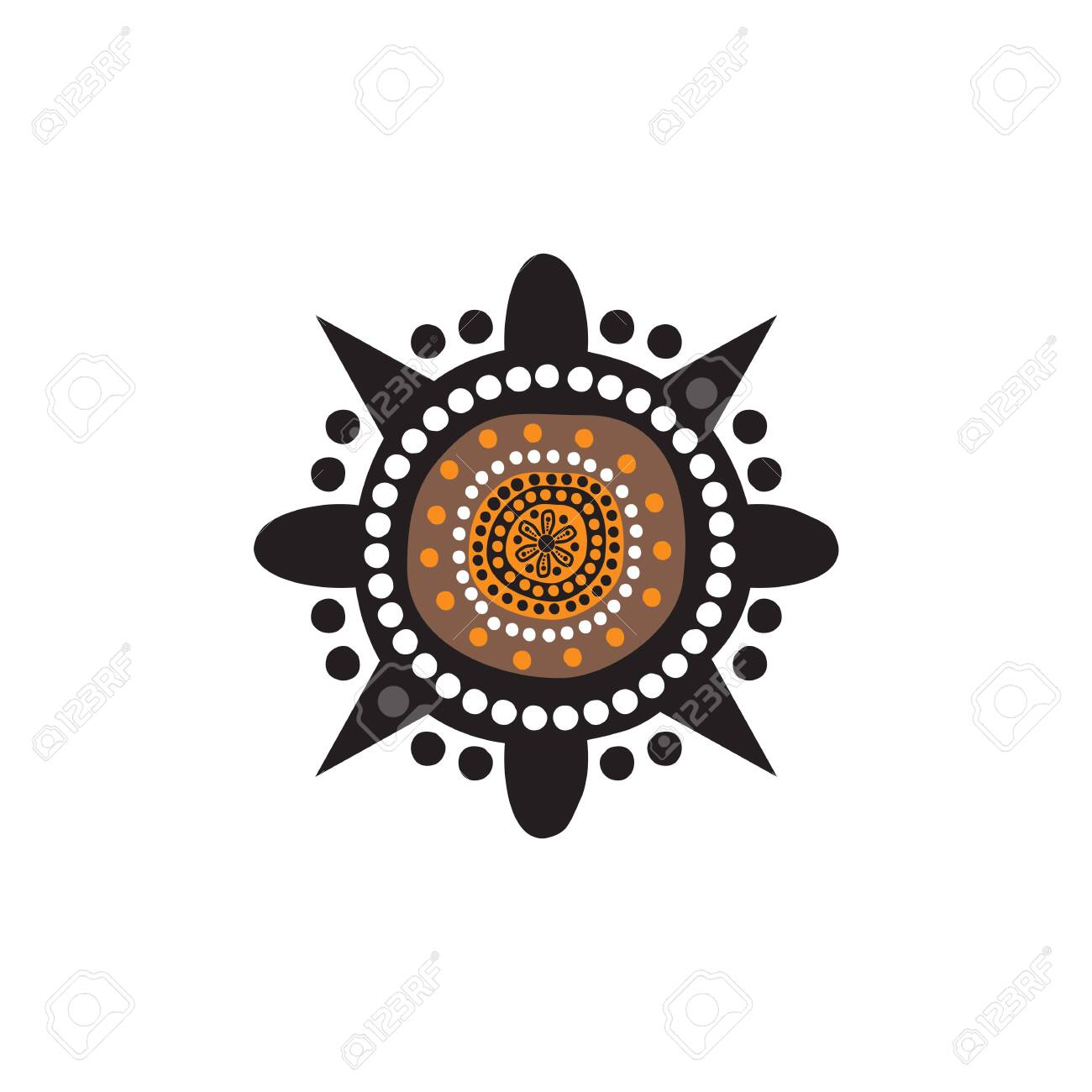 Aboriginal art dots painting logo design template - 126863497