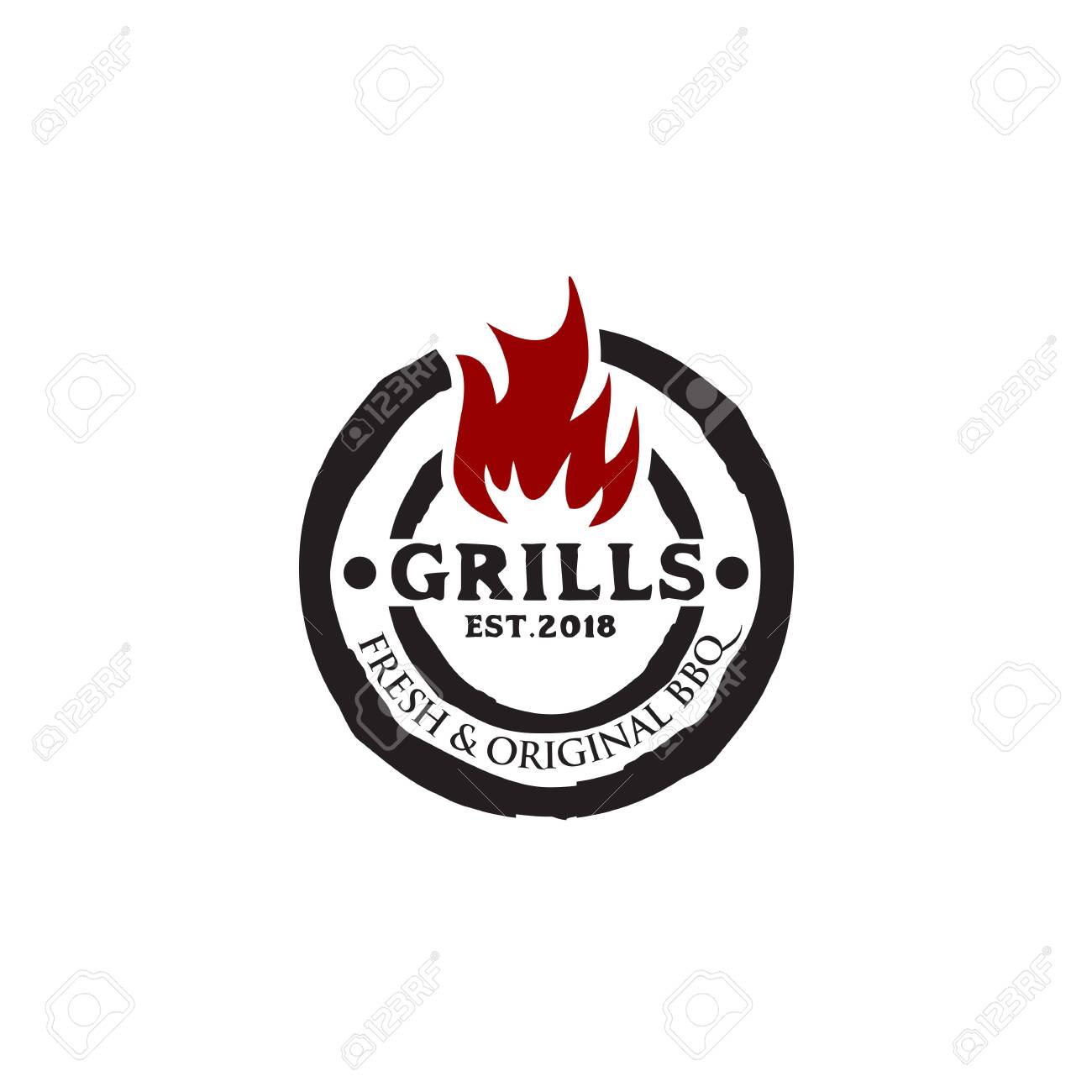 Grills Barbeque Restaurant Logo Design Inspiration Vector Template Royalty Free Cliparts Vectors And Stock Illustration Image 129604324