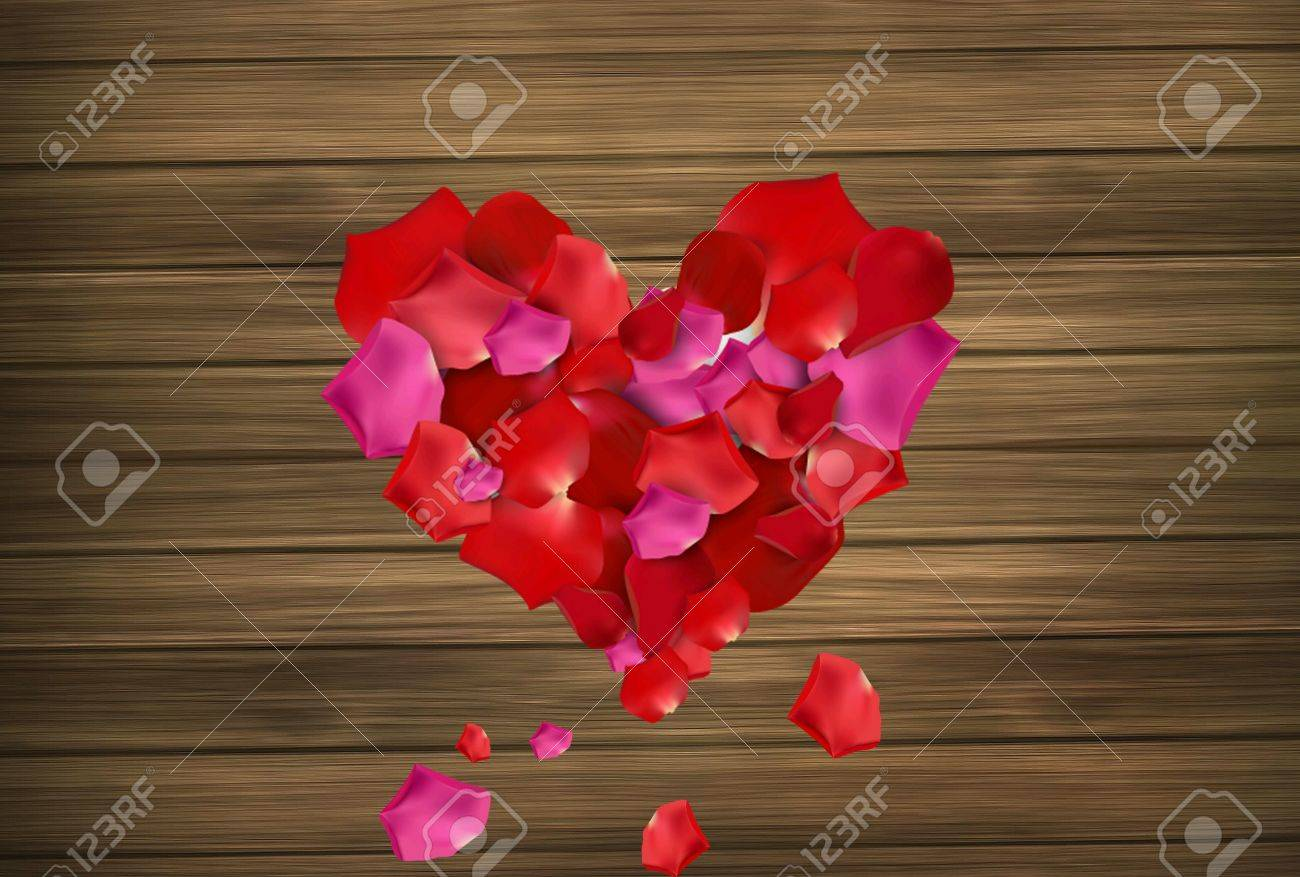 Red Pink Roses Love Heart Valentine Wood Texrure Background Blur Wallpaper Stock Photo