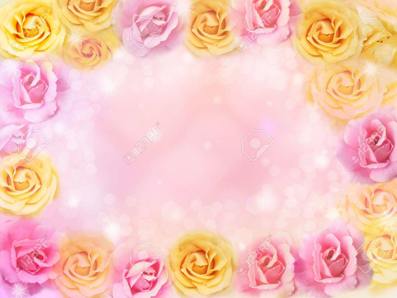 Beautiful Pink And Yellow Roses Flower Border And Frame Background