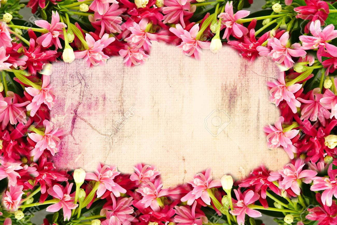 Pink flower border and frame in vintage color for valentine pink flower border and frame in vintage color for valentine background and wedding card stock photo mightylinksfo