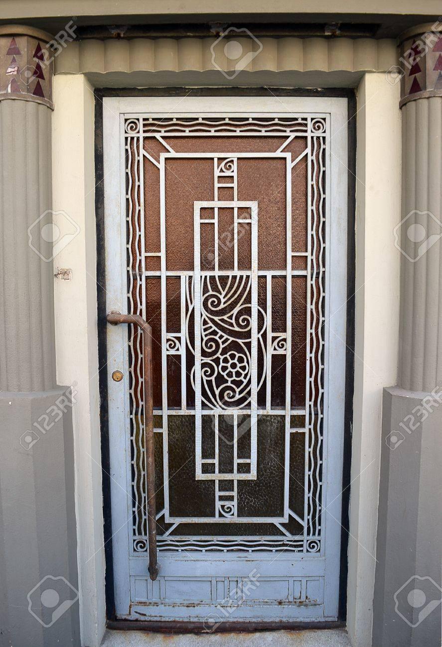 An Art Deco Door, Flanked By Art Deco Columns. In Bucharest, Romania Stock