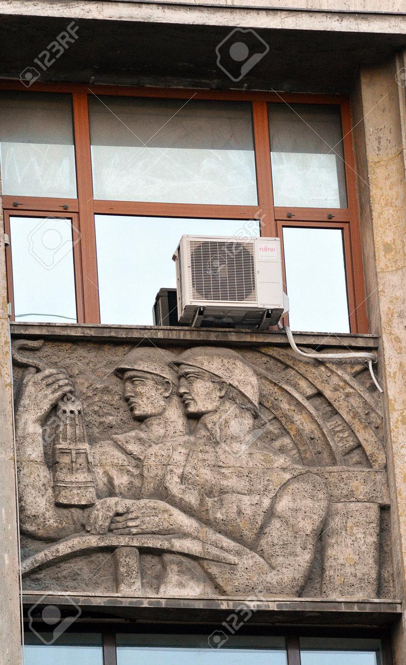 BUCHAREST, ROMANIA - 13 MAY 2016: Bas Relief Art Deco Sculpture ...
