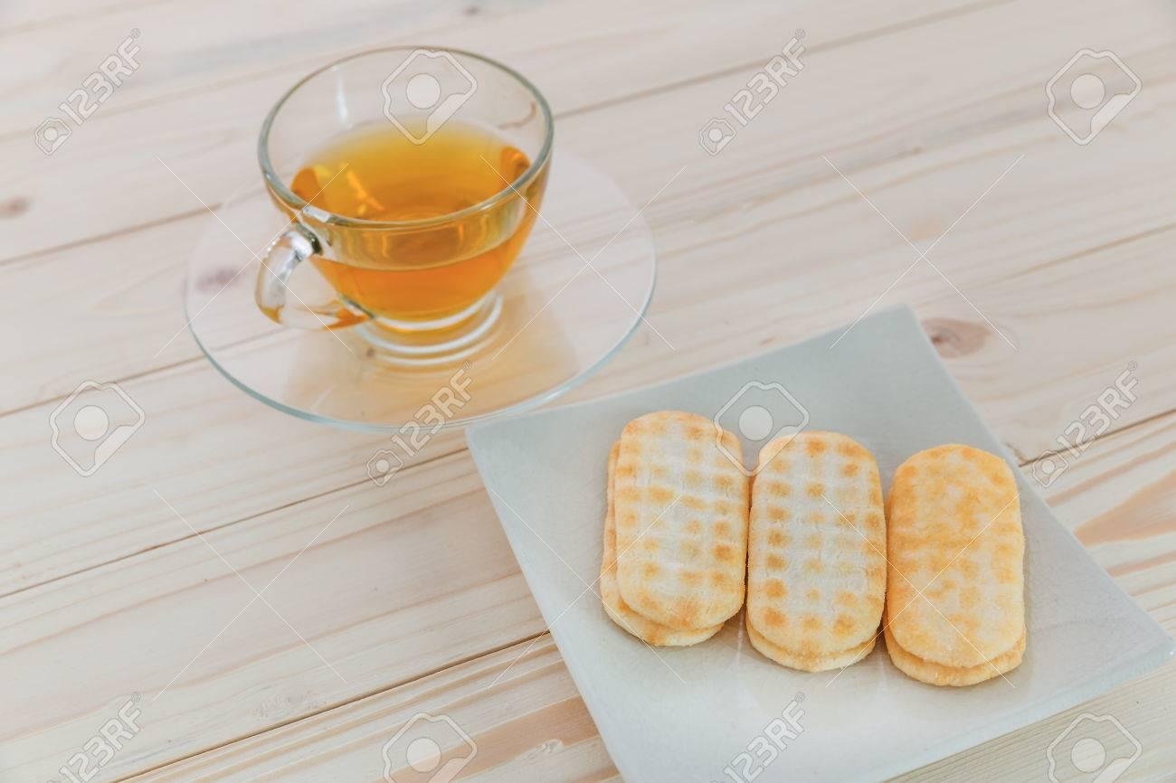 Japanese Rice Craker With Tea, Corn Cheese Flavor Stock Photo ...