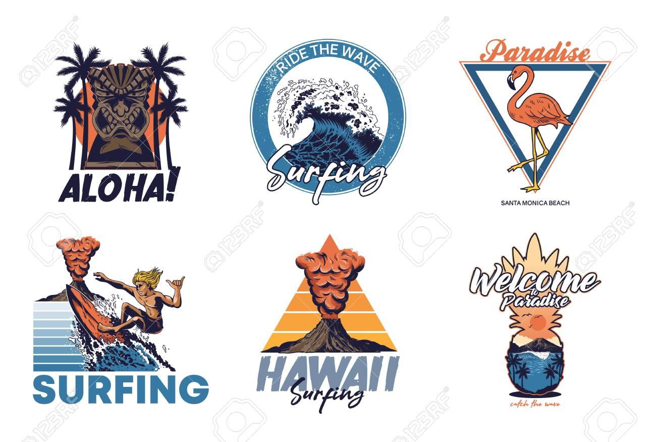 Set Vintage Print Collection Summer Hawaii California Paradise