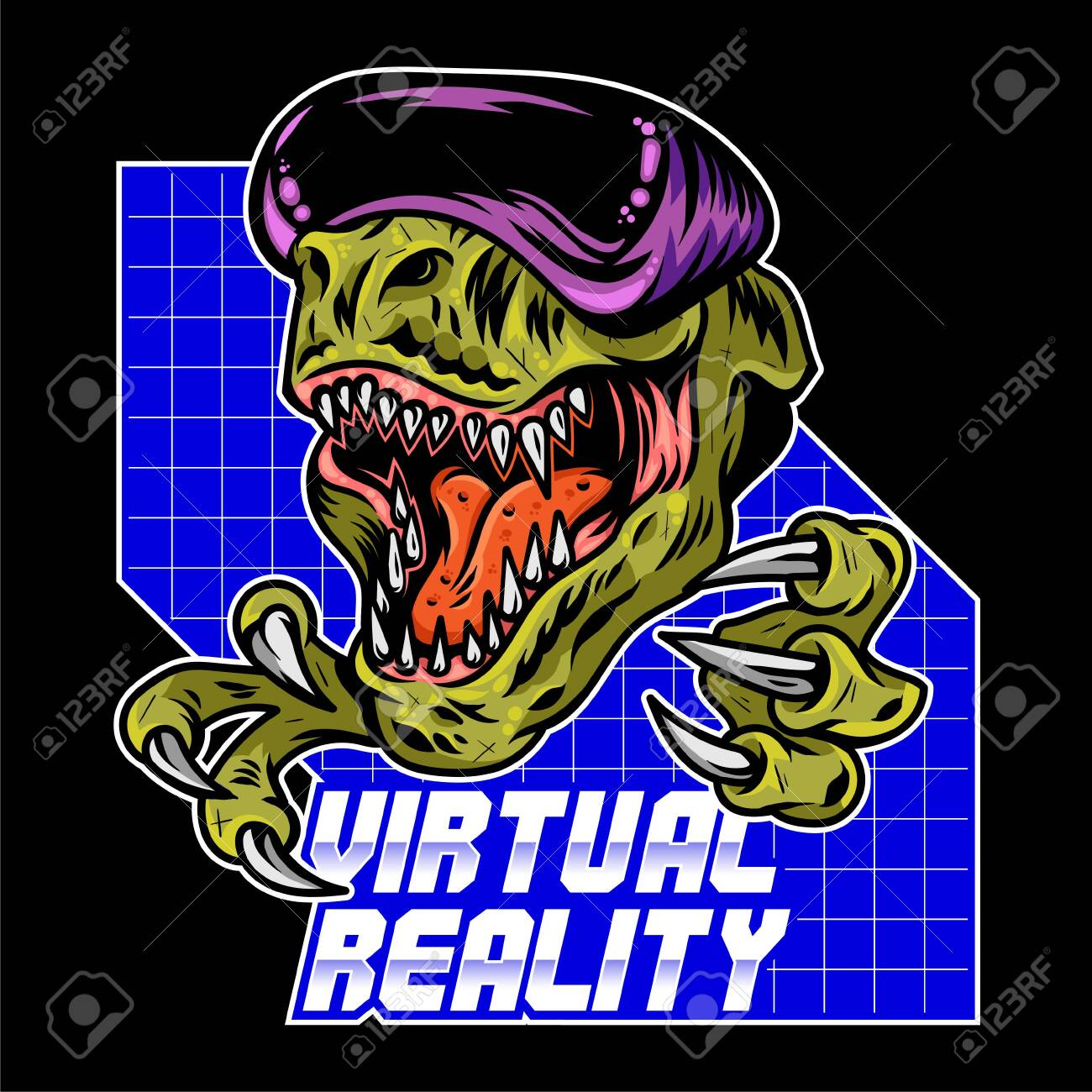 T Rex Dinosaur Angry Gamer Which Play Virtual Arcade Video Game Royalty Free Cliparts Vectors And Stock Illustration Image 138669555