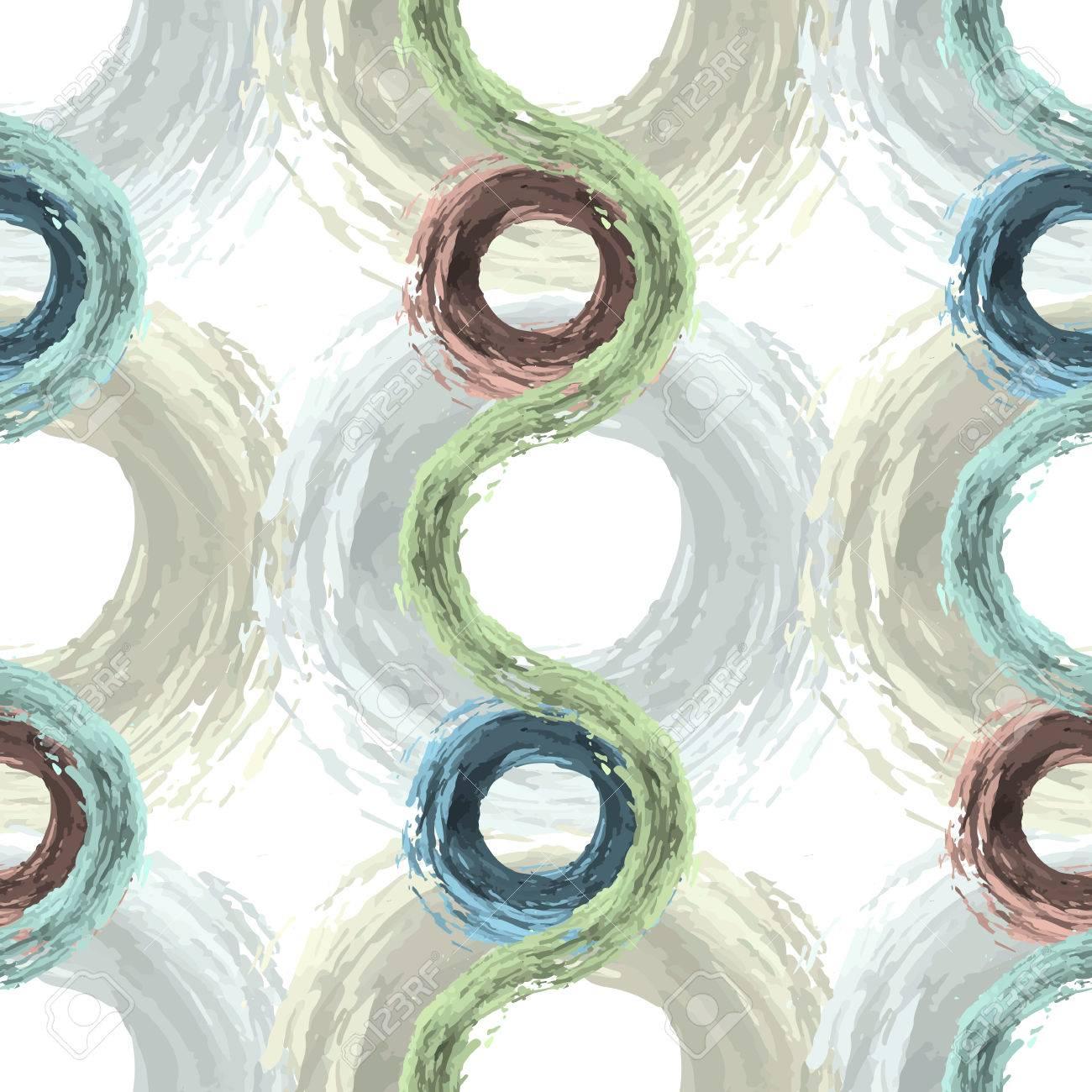 Patrón Sin Fisuras Con Líneas Abstractas, Círculos. Círculos Fluffy ...