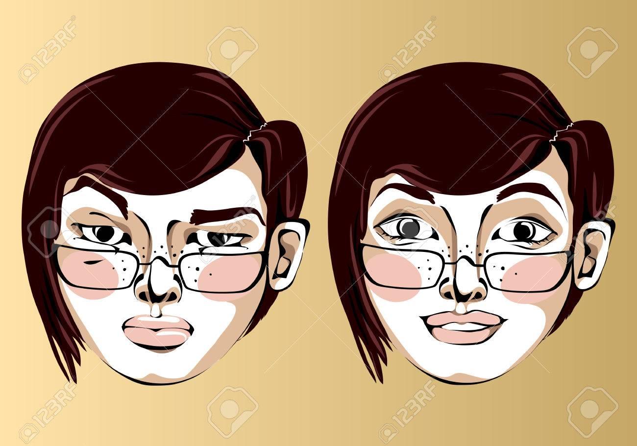 Visage Cheveux Avec Et Illustration Courts Brun Du Femme Des Droite Différentes Expressions Lunettes dCxorhtsQB