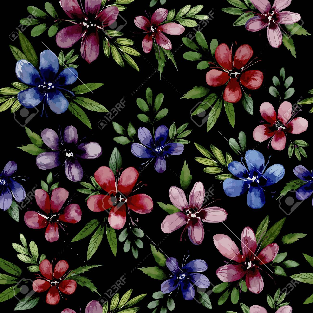 Seamless Pattern Wiht Watercolor Flowers Blue Red Pink Flowers