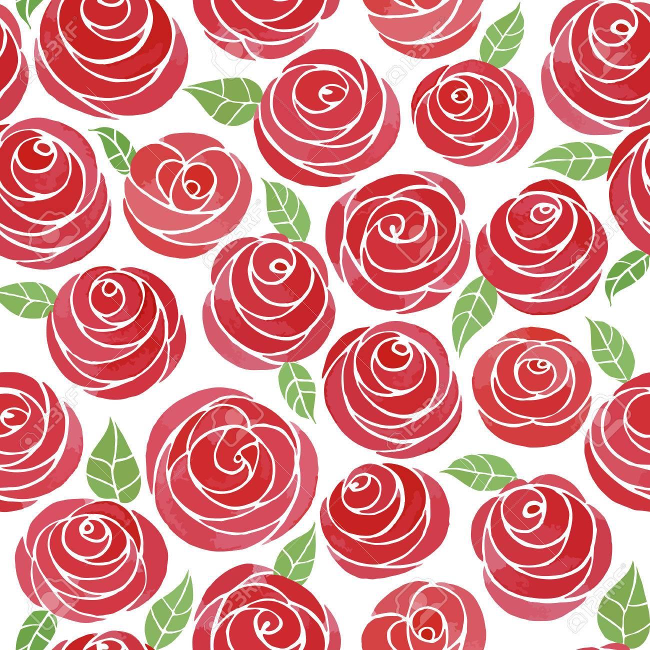 Modelo Inconsutil Con Las Rosas De La Acuarela Lindos Cute Dibujos Animados Rosas Rojas Con Hojas Flores Jugosas En Un Fondo Blanco