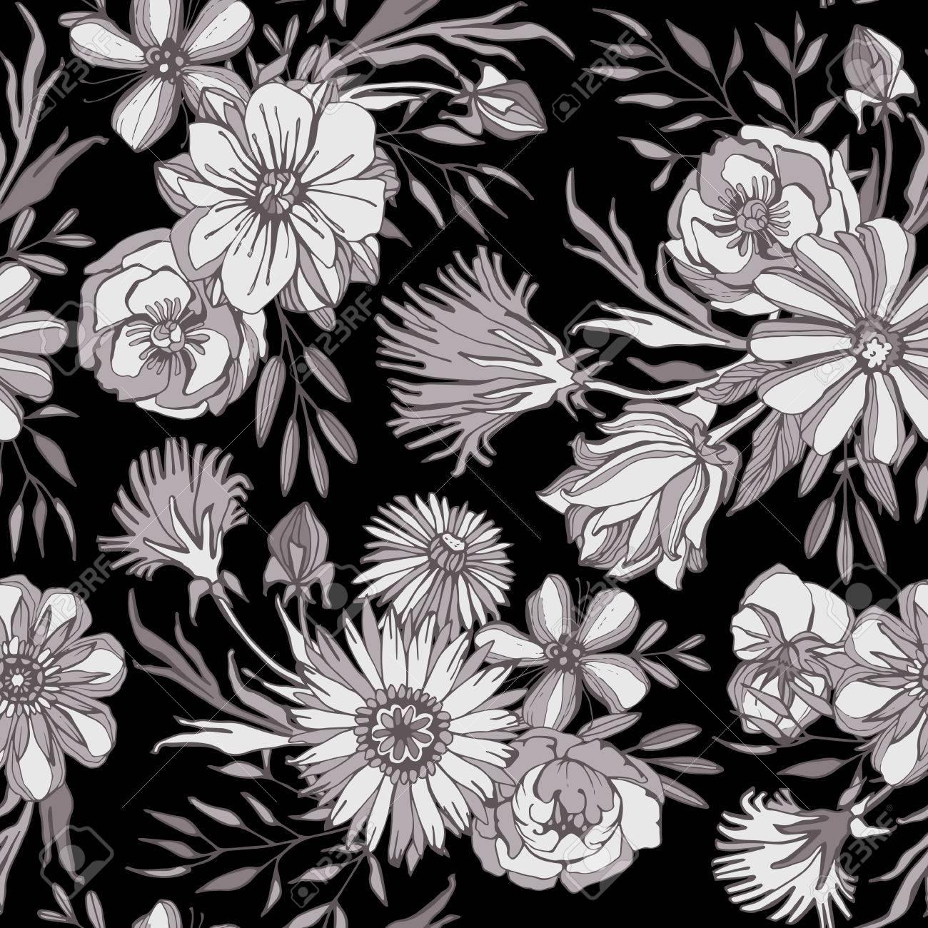 シームレスな花柄 モノクロの色 美しいエレガントな花と葉 手で描かれています Web ページの背景テクスチャ パターンの塗りつぶし壁紙に最適です のイラスト素材 ベクタ Image